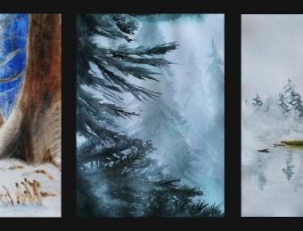 """Triptyque Promenade en forêtAquarelle15"""" x 11"""" x 3"""